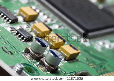 Macro of electronic components of a computer. - stock photo