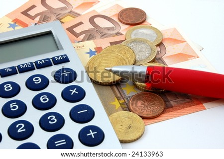 macro of euro bills and coins can be used as background - stock photo