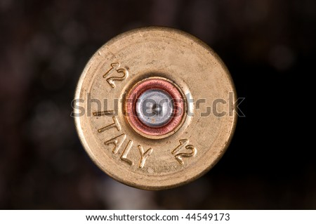 Macro of fired shotgun cartridge - stock photo