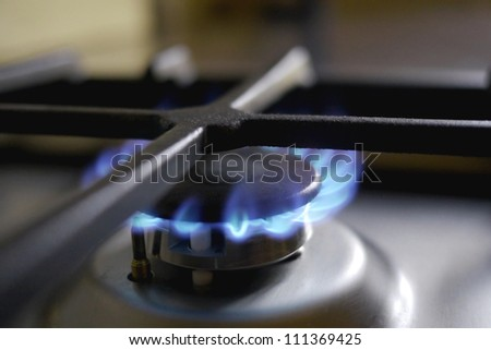 macro of gas on a stove