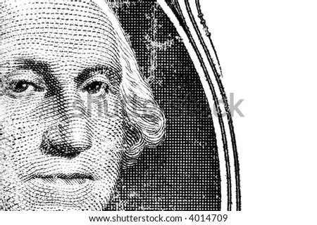 macro of george on a dollar bill - stock photo