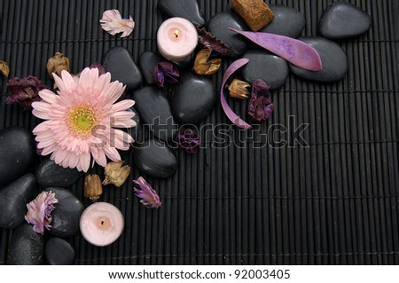 Macro of gerbera with flower dried petals and candle on zen stone - stock photo
