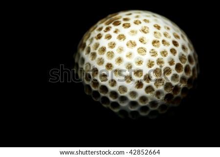 macro of golf ball against dark background - stock photo