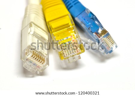 Macro of internet cable isolated on white background - stock photo
