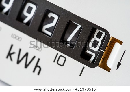 Macro of kilowatt electricity meter digits