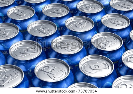 Macro of metal cans with refreshing drinks - stock photo