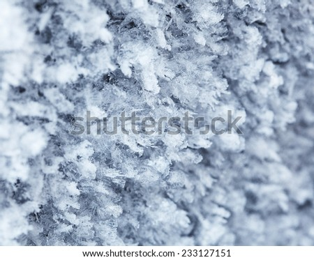 Macro of natural rime decoration of growing ice crystals  - stock photo