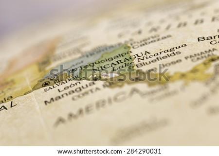 Macro of Nicaragua on a globe, narrow depth of field - stock photo
