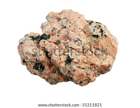 macro of pink granite rock isolated on white background - stock photo