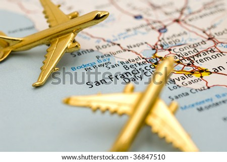 Macro of Planes Over Los Angeles. - stock photo