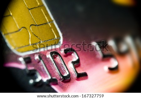 Macro of plastic credit or debit card - stock photo
