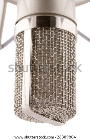 macro of proffecional studio microphone isolated on white