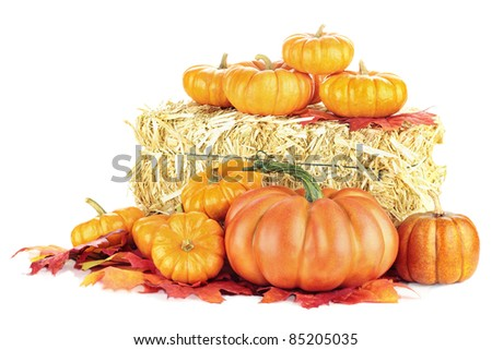 Macro of pumpkins around a bale of hay isolated on a white background. - stock photo