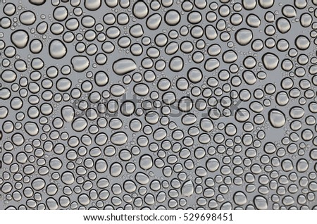 Macro of rain droplets on transparent surface