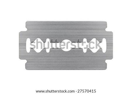 Macro of razor blade isolated on white background - stock photo