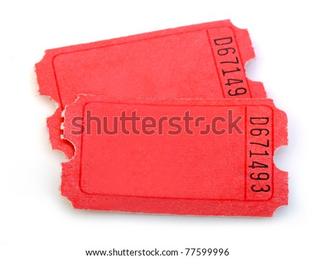 Macro of Red Tickets isolated on white background - stock photo