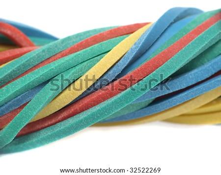 Macro of rubber band - stock photo