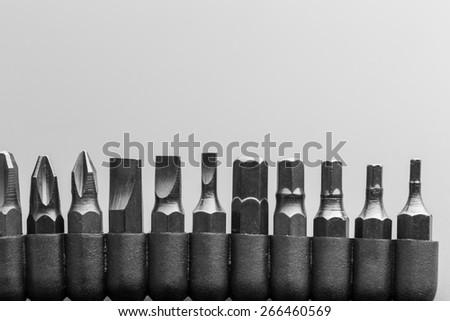 Macro of screwdriver bits - stock photo