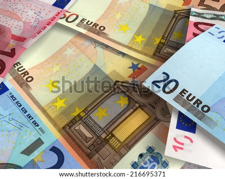 Macro of several euro banknotes. Money background. Very high resolution
