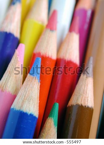 macro of sharpened pencil crayons