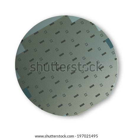 Macro of silicon wafer. Clipping path - stock photo