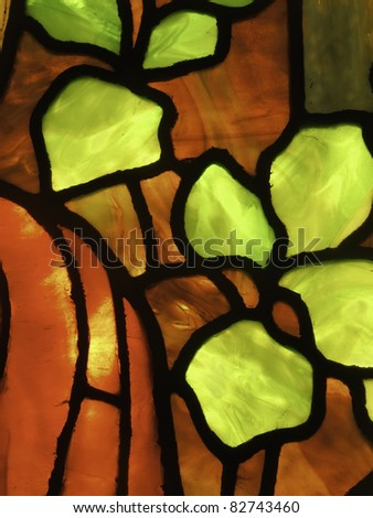 Macro of stained glass window - stock photo