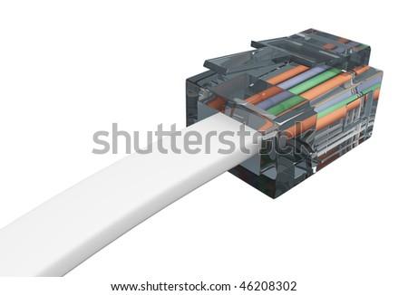 Macro of telephone cable isolated on white background. - stock photo