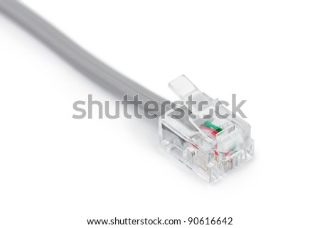 Macro of telephone cable isolated on white background