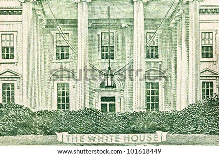 Macro of the White House on back of the US twenty dollar bill. - stock photo