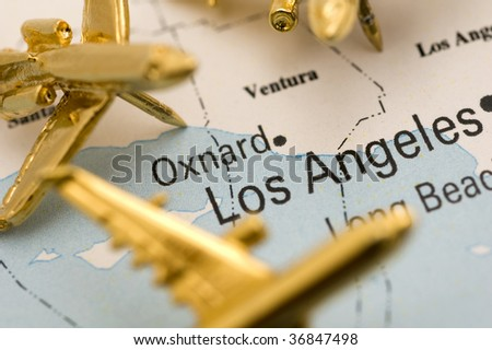 Macro of Three Planes Over Los Angeles. - stock photo