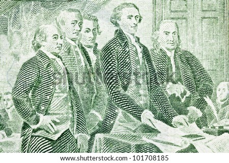 Macro of US two dollar bill.  Jefferson, Franklin, Adams and other Colonials presenting the Declaration of Independence to Congress. - stock photo