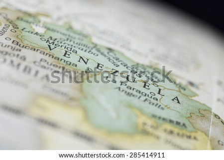 Macro of Venezuela on a globe, narrow depth of field