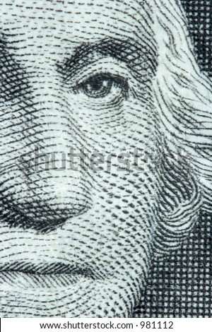 Macro of Washington on the US One Dollar Bill - stock photo