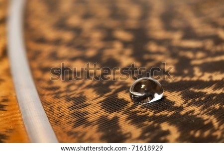 Macro of water drop on brown feather detail pattern - stock photo