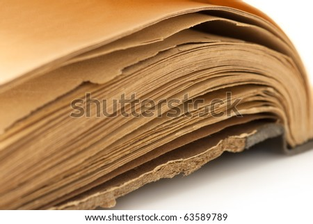 Macro of 100 years old book pages. Shallow DOF - stock photo