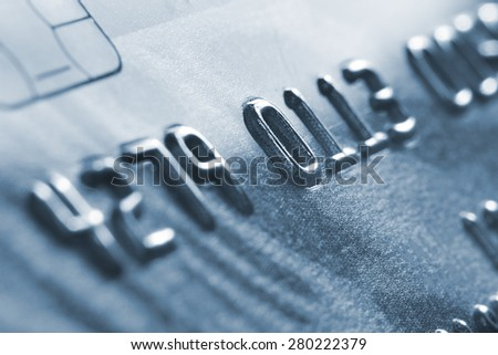 Macro old credit card. - stock photo