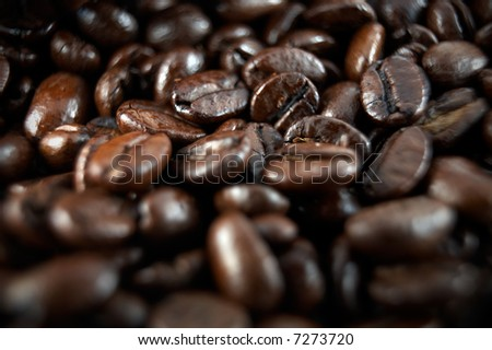 Macro or closeup of coffee beans with a very narrow depth of field