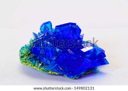 macro photo about crystals of blue vitriol - Copper sulfate - stock photo