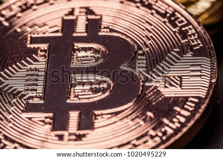 Macro photo of a Copper Bitcoin