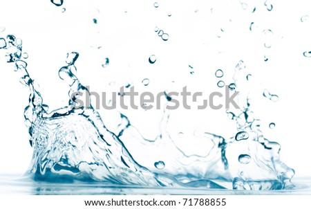 macro photo of a water splash isolated on white - stock photo