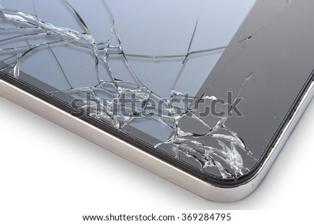 Macro photo of an cell phone with broken display isolated on white - stock photo