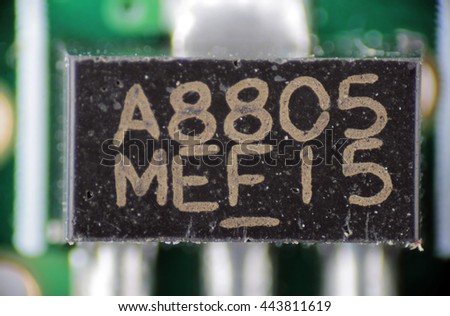 macro photo of an electronic component on the circuit board pcb - stock photo