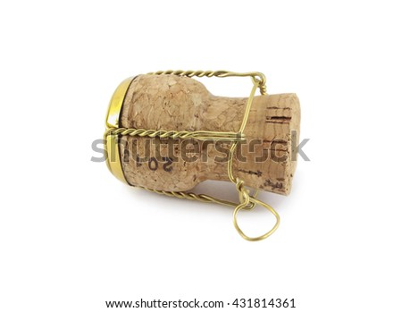Macro photo of an isolated champagne or sparking wine cork. Concept object for a celebration event. - stock photo