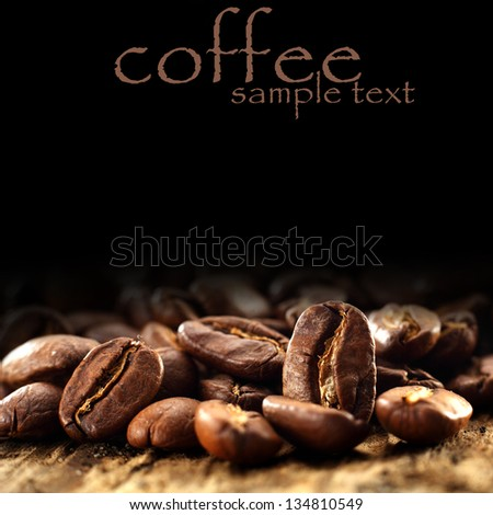 macro photo of coffee beans - stock photo