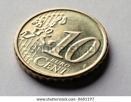 Macro photo of coin 10 euro cent. - stock photo