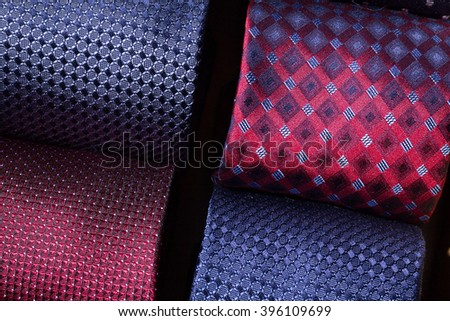 macro photo of colorful coiled ties - stock photo