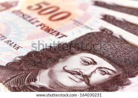 Macro photo of hungarian forint - stock photo