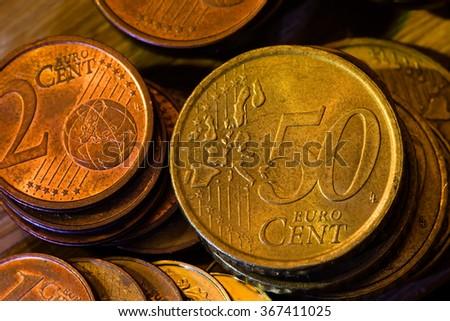 macro photo of metal euro coins - stock photo