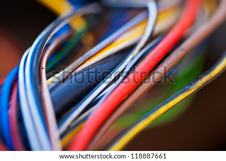 Macro photo of the colorful cable - stock photo