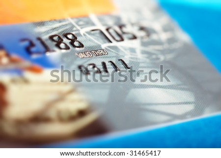 Macro photo of the credit card with validity period - stock photo